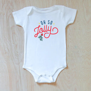 Oh So Jolly Winter Holiday Season Festive Onesie at Hi Little One