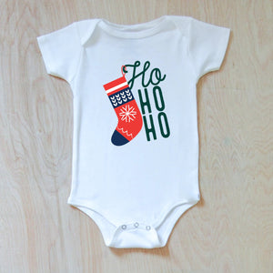Ho Ho Ho Winter Holiday Season Festive Onesie at Hi Little One
