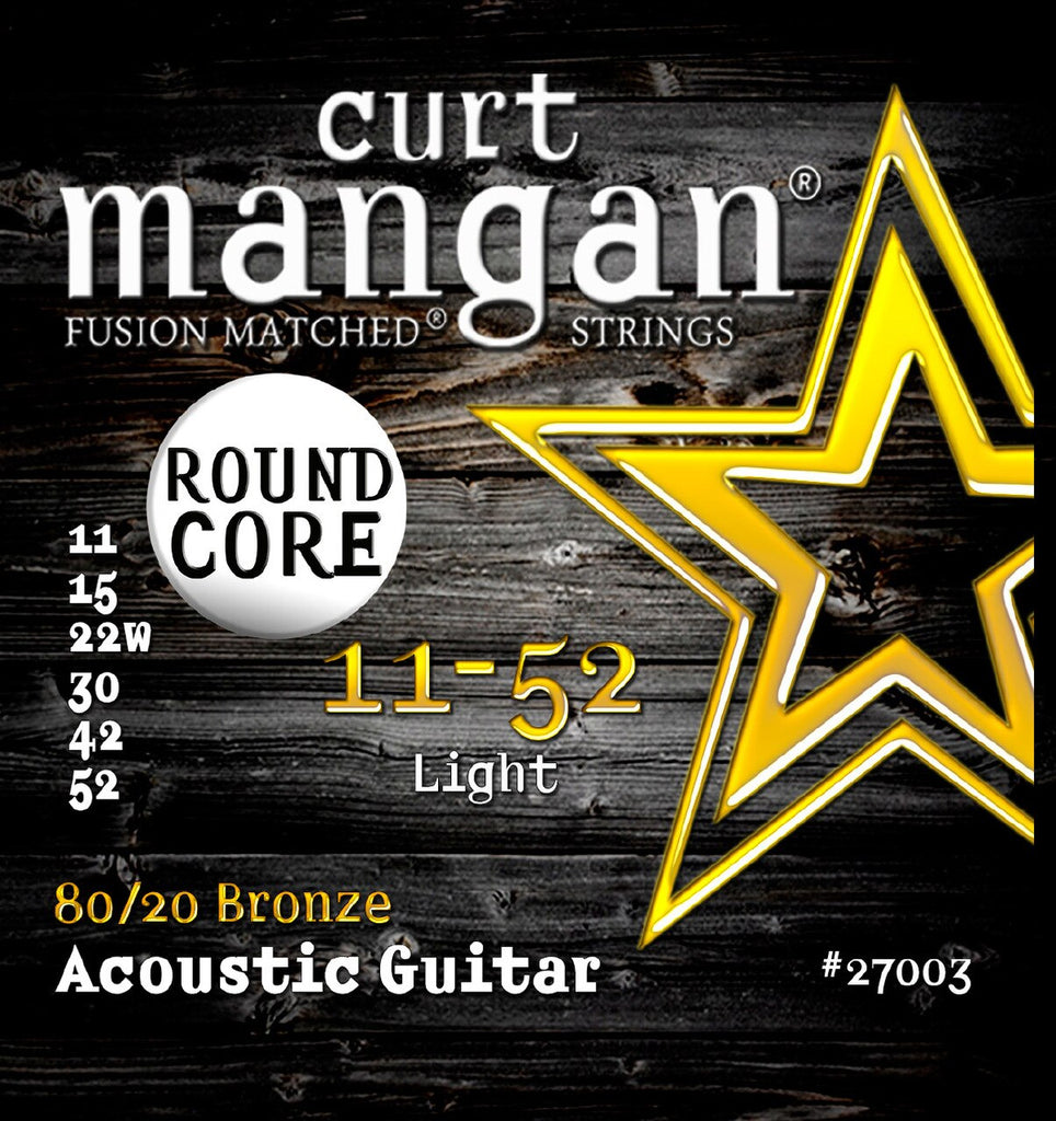 CURT MANGAN 11-52 ROUND CORE LIGHT 80/20 BRONZE ACOUSTIC GUITAR STRINGS