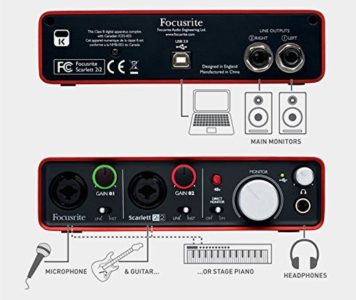 Focusrite Scarlett 2i2 USB Audio Interface (Software Included)