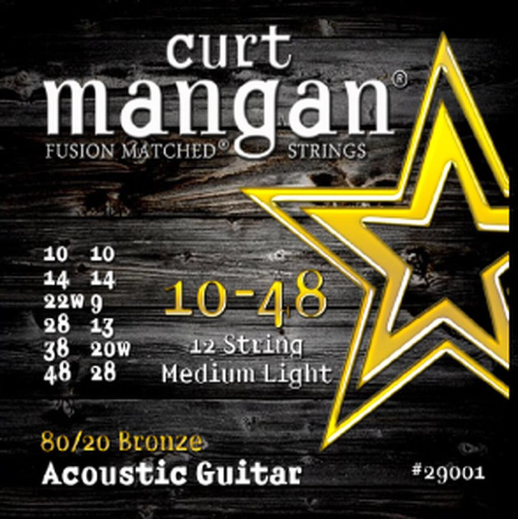 CURT MANGAN 10-48 12 STRING MEDIUM LIGHT ACOUSTIC GUITAR STRINGS