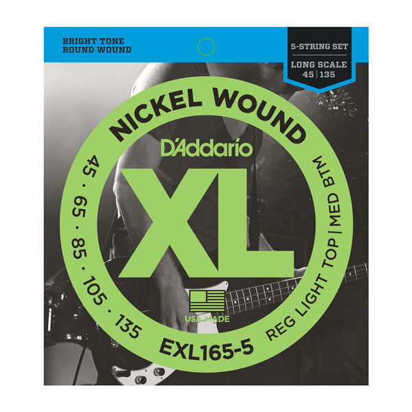 D'Addario EXL165-5 Nickel Wound 5-String Bass Strings (.045-.135)