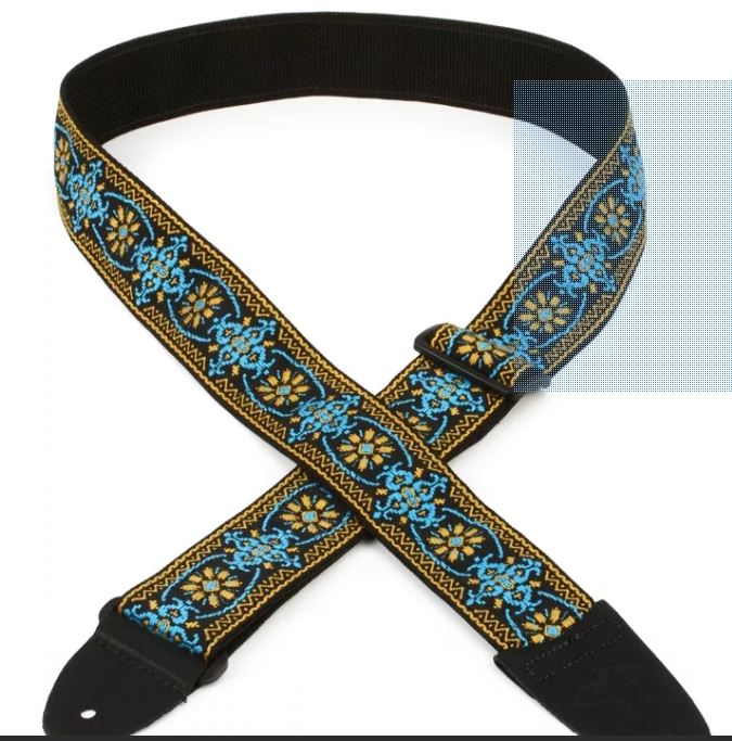 "LM Products Retro Series 2"" Jacquard Weave Strap - Black and Blue"