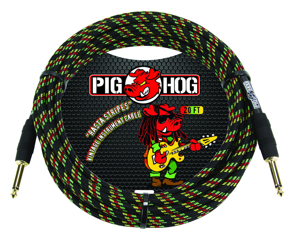 Pig Hog 20' Woven Instrument Cable (Rasta Stripes)