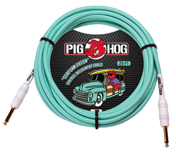 Pig Hog 20' Woven Instrument Cable (Seafoam Green)