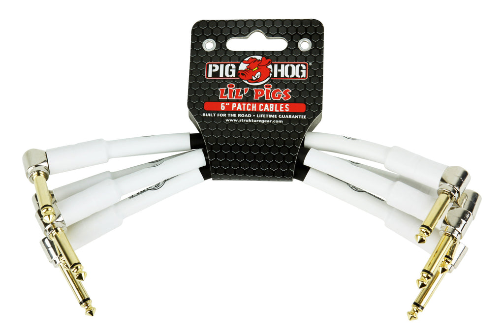 "Pig Hog 6"" Rubber Patch Cables (4 Pack)"