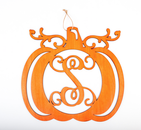 Monogrammed Pumpkin Door Decor