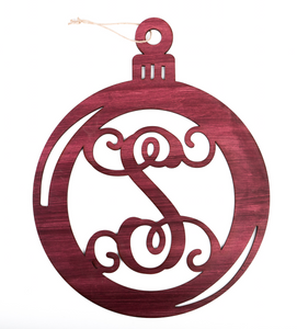 Monogrammed Ornament Door Decor