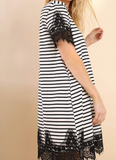 Black and White Stripe swing dress with lace detail