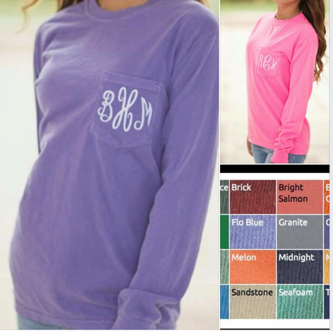 Comfort Colors Longsleeve Monogram Pocket Tees