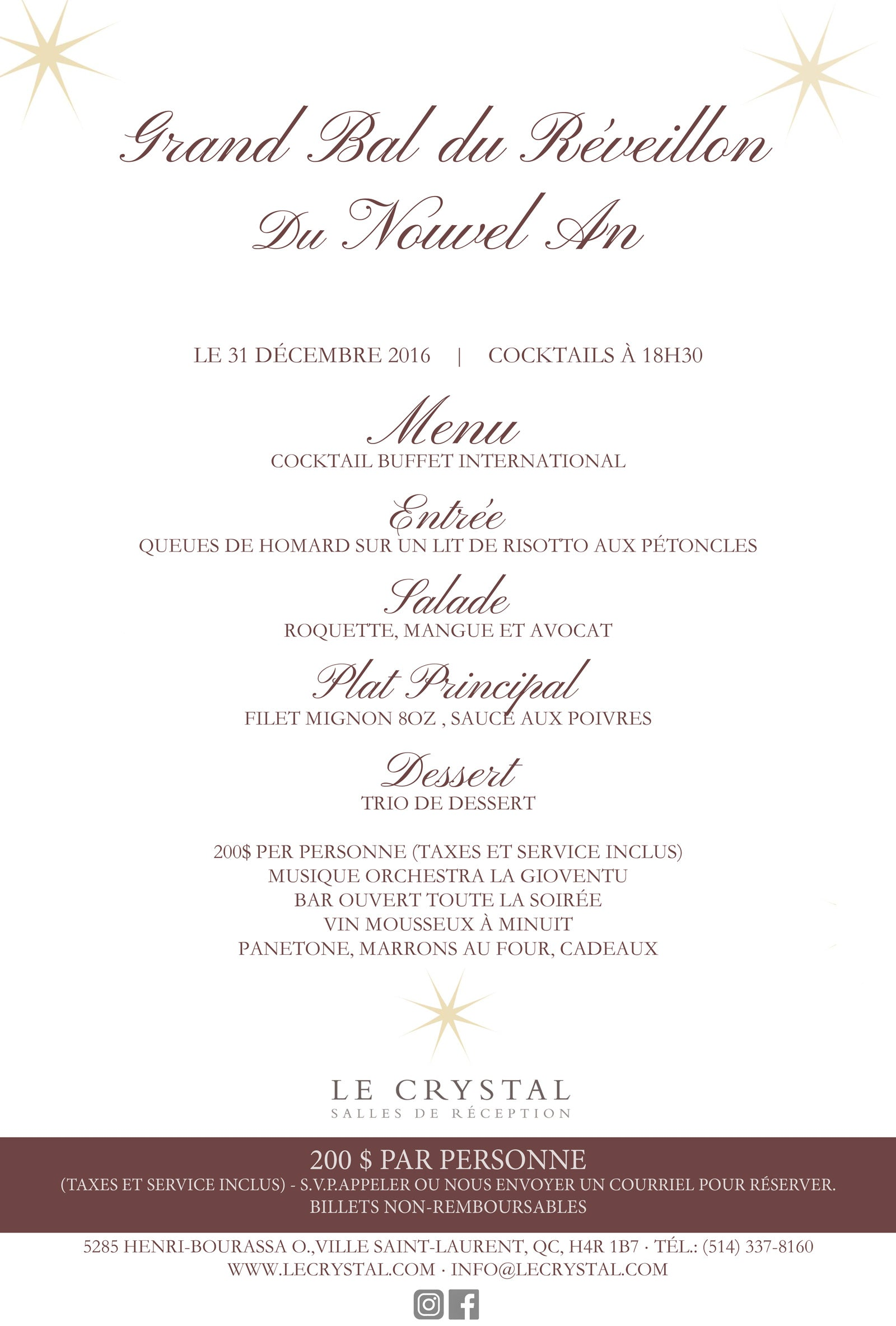 Le Crystal New Years Eve 2016