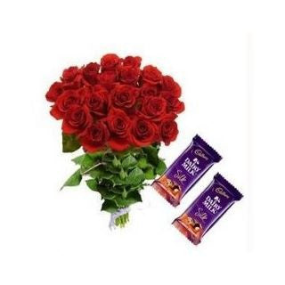 10 Red Roses and 2 cadbury silk chocolates - GoSendGift.com