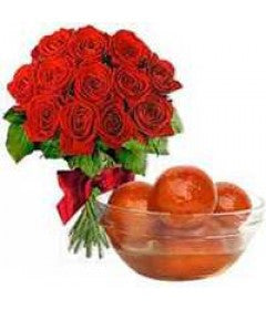 6 Red Rose Bunch and 1 Kg Gulab Jamun - GoSendGift.com