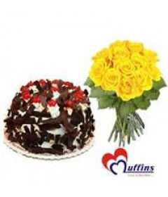 1/2 Kg Black Forest Cake with 6 Yellow Roses Bunch - GoSendGift.com