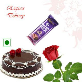 Chocolate cake, chocolate and Rose - GoSendGift.com