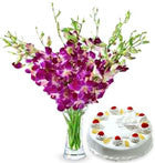 10 orchids and half kg Eggless cake of vanilla Flavour. - GoSendGift.com