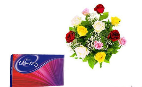 Cadbury Celebration Chocolate N Flowers - GoSendGift.com