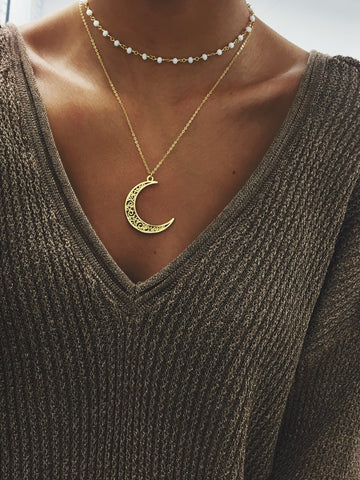 Gold Crescent Necklace, White Gold Nebula Chain Choker