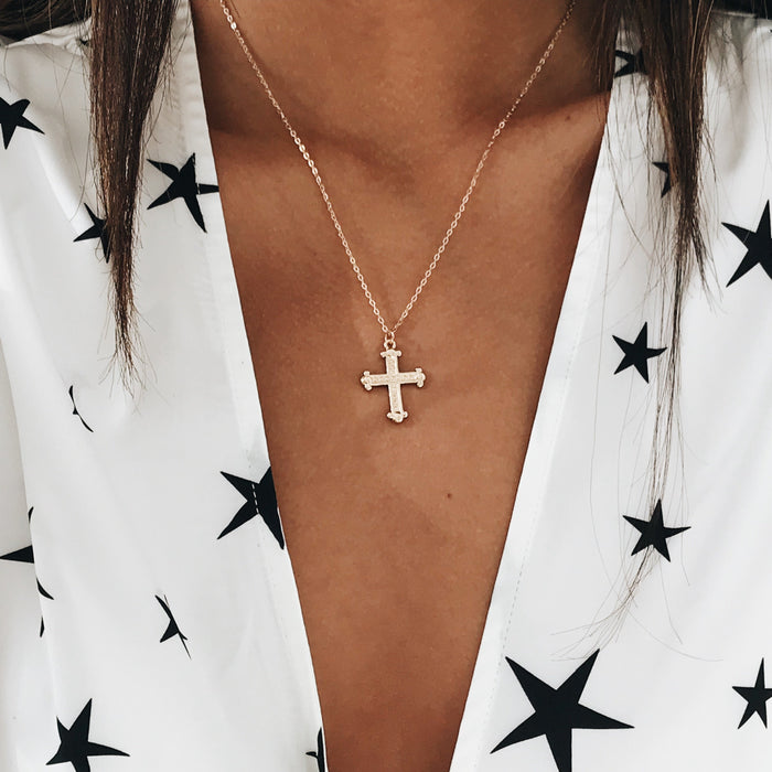 Antique Cross Necklace - Gold Necklaces - Stargaze Jewelry