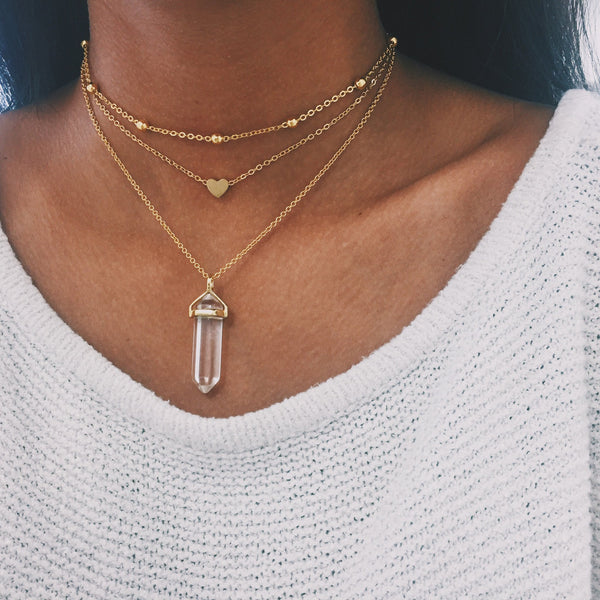 Gold Heart Chain Choker