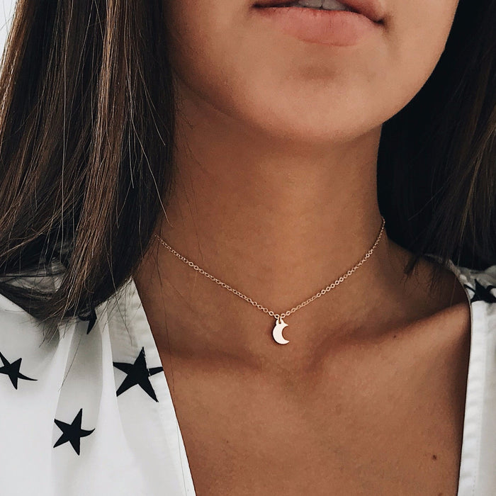 Gold Crescent Chain Choker Chokers - Stargaze Jewelry