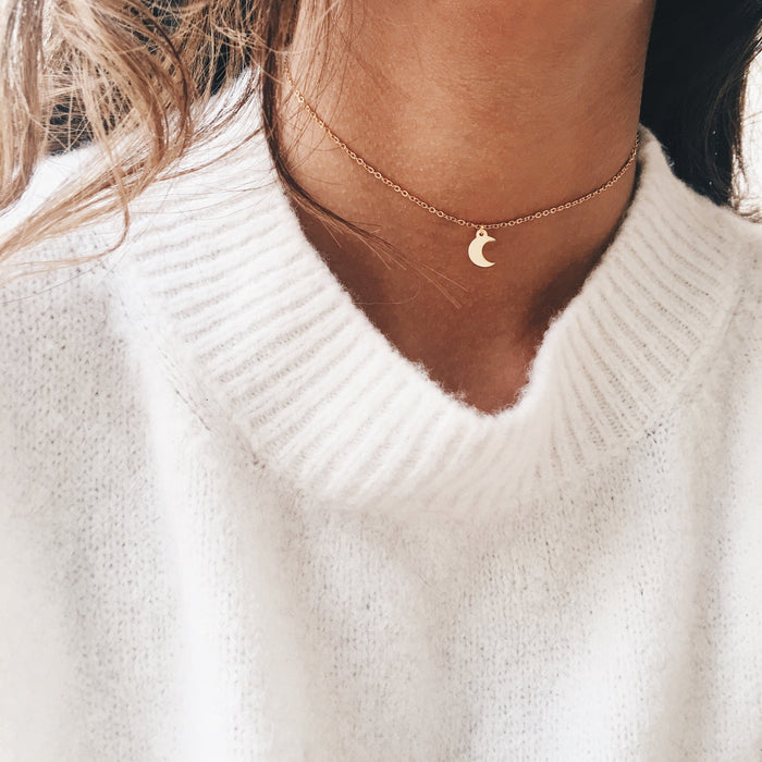 Gold Crescent Chain Choker