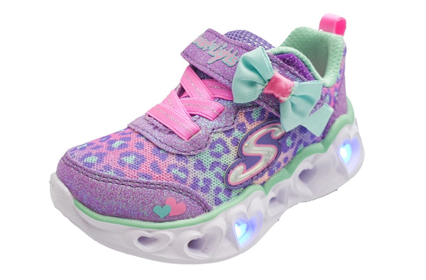 Skechers Girls Untamed Hearts Light Up Trainers in Lavender and Pink