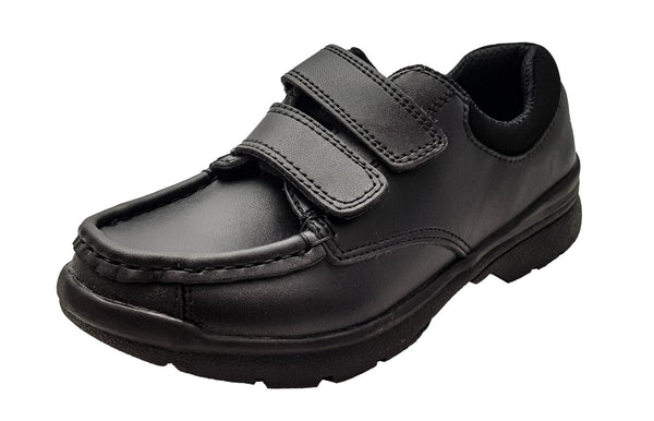 Boys School Shoes Chatterbox Black Leather Shoes - Easy Wear Touch Fastening