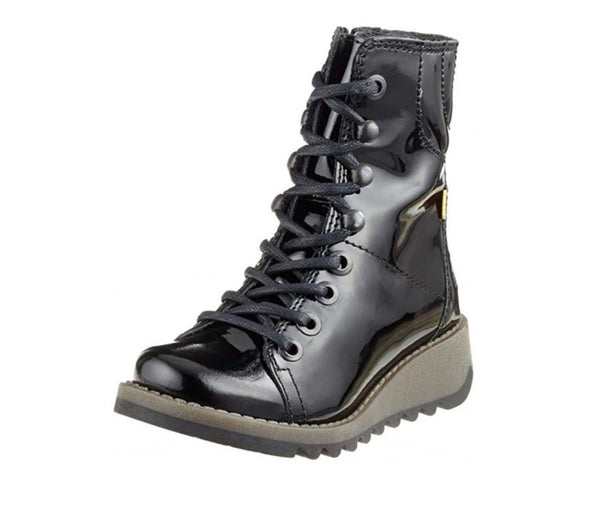 Girls Fly London Black Patent Leather Biker Style Boots