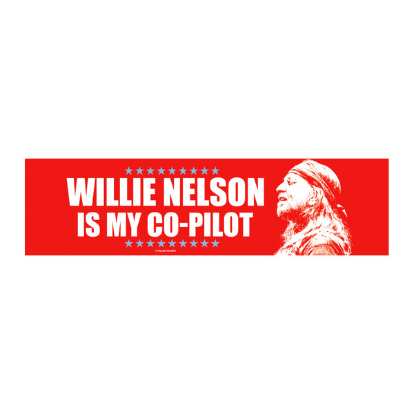 31a4eccc6f7 Willie Nelson Is My Co-Pilot Bumper Sticker