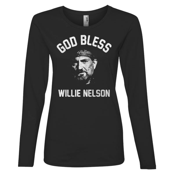 God Bless Willie Nelson Ladies Long Sleeve