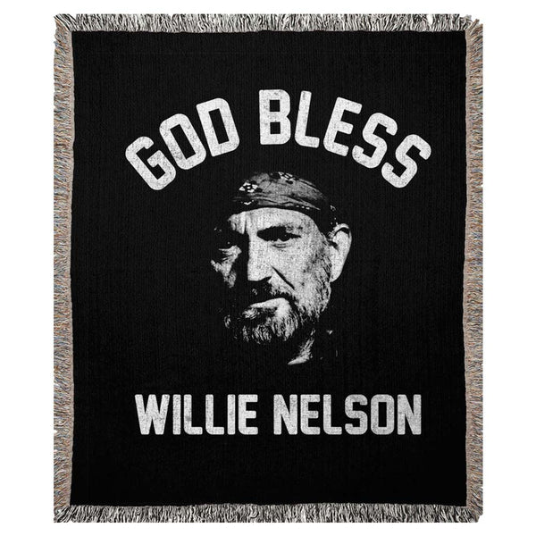 God Bless Willie Nelson Woven Blanket