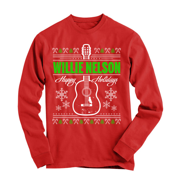 Willie Nelson Happy Holidays Long Sleeve