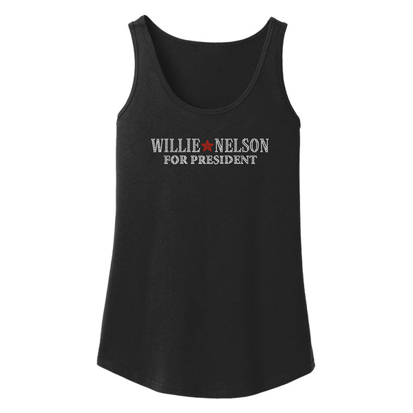 Willie Nelson For President Bling Loose Fit Tank