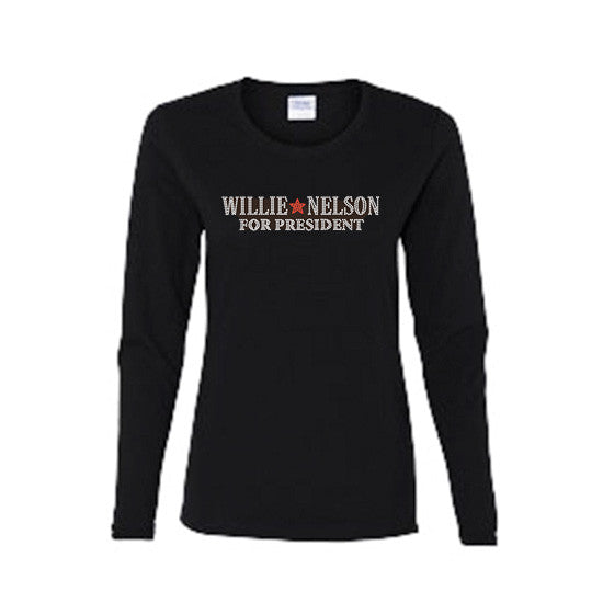 Official Willie Nelson Willie For President Womens Crystal Long Sleeve