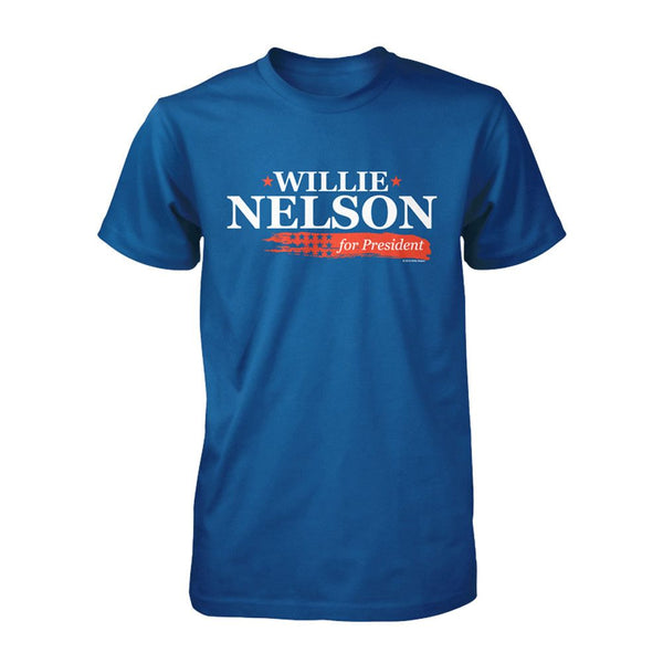 "Official Willie Nelson ""Willie for President"" Blue Tee"