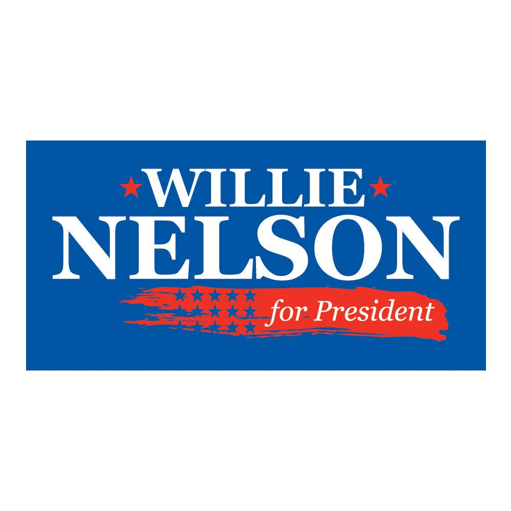Official Willie Nelson for President Blue Bumper Sticker