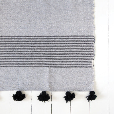 Large Grey and Black Striped Pom Pom Blanket