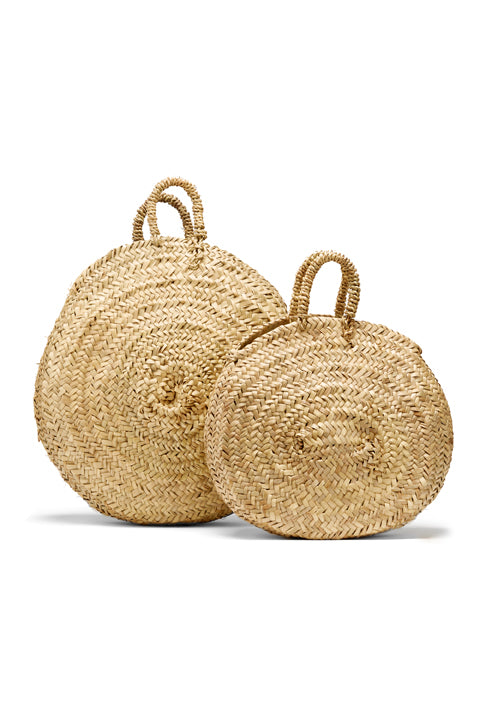 Circular Woven Basket Duo - Large and Mini