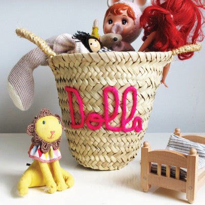 Embroidered 'Dolls' Mini Basket