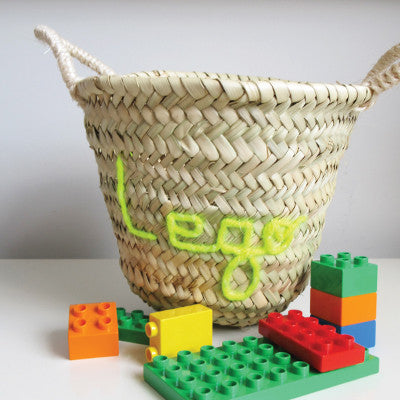 Embroidered 'Lego' Mini Basket