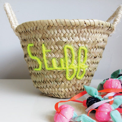 Embroidered 'Stuff' Mini Basket