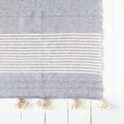 Large Grey and Cream Striped Pom Pom Blanket