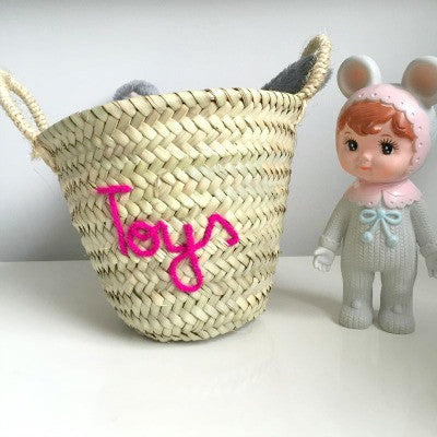 Embroidered 'Toys' Mini Basket
