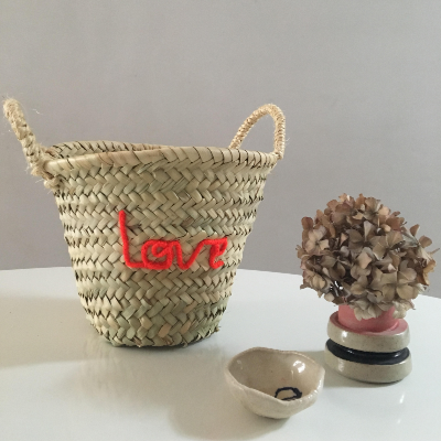 Embroidered 'Love' Mini Basket