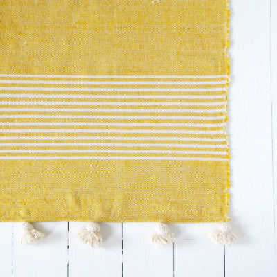 Large Mustard and Cream Striped Pom Pom Blanket