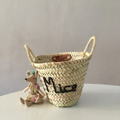 Embroidered 'Mice' Mini Basket