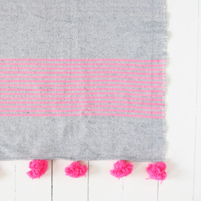 Large Grey and Pink Striped Pom Pom Blanket