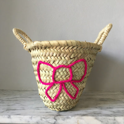 Embroidered Bow Mini Basket