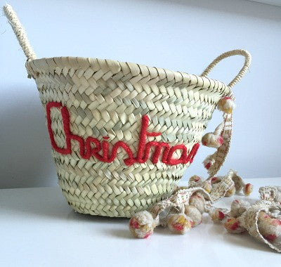'Christmas' Embroidered Mini Basket